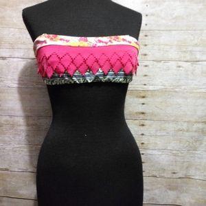 Maaji pink and green ruffly bikini top